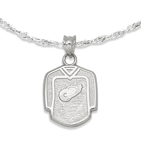 Detroit Red Wings  5/8in Jersey on Chain Sterling Silver