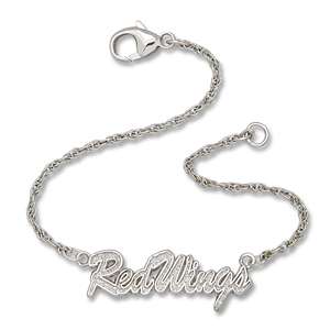 Sterling Silver 7in Detroit Red Wings Script Bracelet