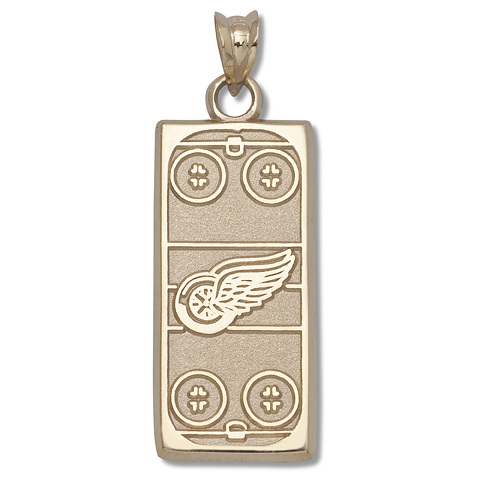 14kt Yellow Gold 15/16in Detroit Red Wings Rink Pendant
