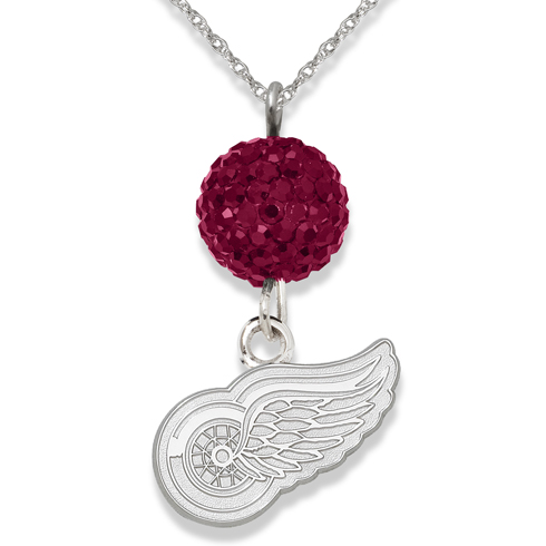 Sterling Silver Detroit Red Wings Crystal Ovation Necklace