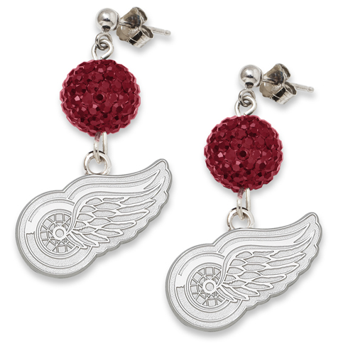Sterling Silver Detroit Red Wings Crystal Ovation Earrings