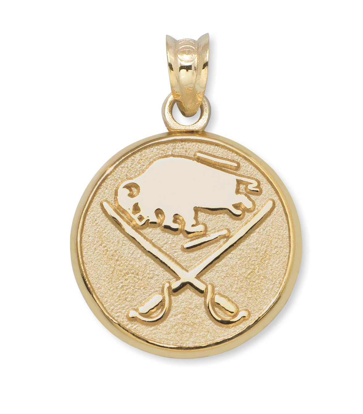 Buffalo Sabres 3/8in Logo Pendant 14kt Yellow Gold
