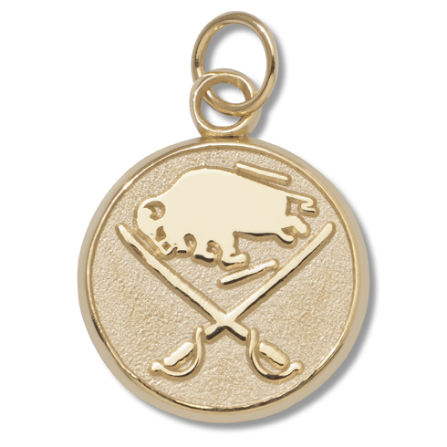 14kt Yellow Gold 5/8in Buffalo Sabres Logo Pendant