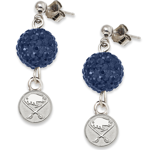 Sterling Silver Buffalo Sabres Crystal Ovation Earrings