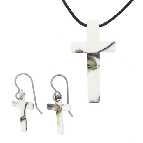 Realtree APS Camo Snow Cross Necklace and Earrings