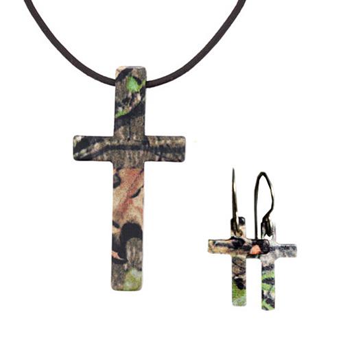 Stainless Steel Mossy Oak Camo Cross and Earrings Set