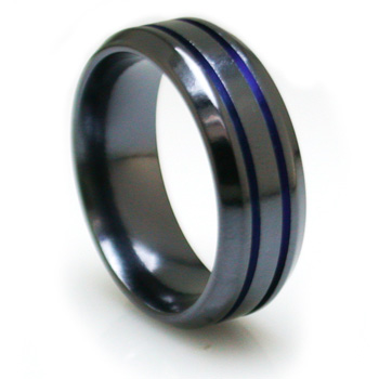 Edward Mirell 8mm Black Titanium Beveled Ring with Blue Grooves