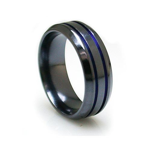 Edward Mirell 8mm Black Titanium Beveled Ring with Blue Grooves