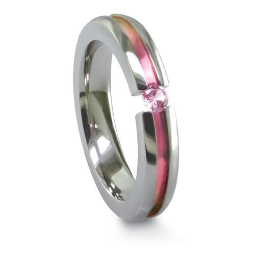 Edward Mirell Pink Sapphire 4mm Titanium Ring