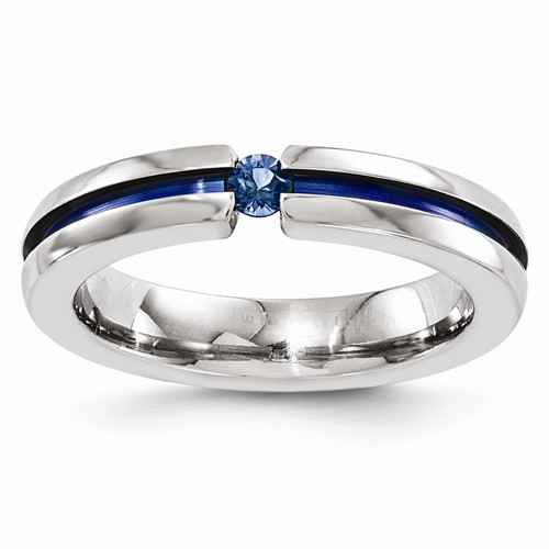 Edward Mirell Sapphire 4mm Titanium Thin Blue Line Ring