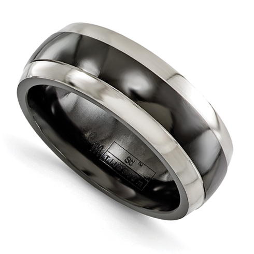 Edward Mirell 7mm Black Titanium Ring with Gray Edges