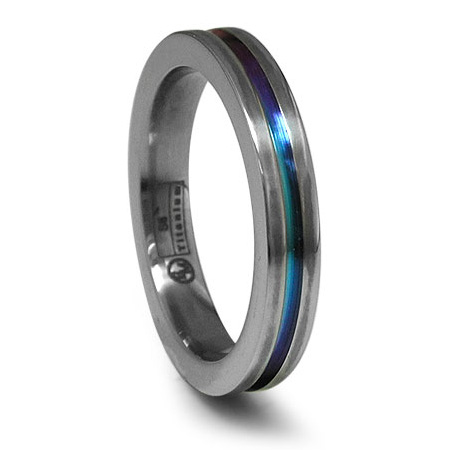 Edward Mirell 4mm Titanium Ring with Anodized Groove