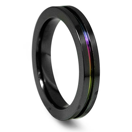 Edward Mirell 4mm Black Titanium Ring with Anodized Groove