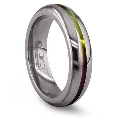 Edward Mirell 6mm Titanium Ring with Anodized Groove