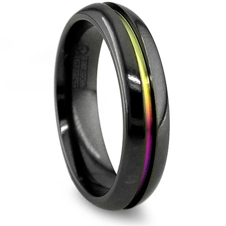 Edward Mirell 6mm Black Titanium Ring with Anodized Groove
