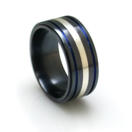 Edward Mirell 10mm Black Titanium and Sterling Silver Ring