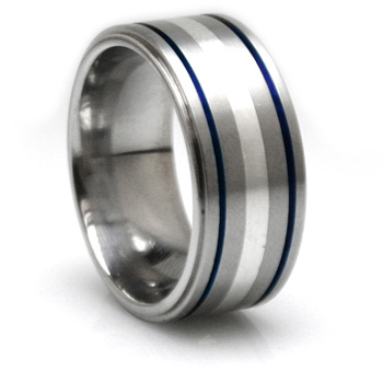 Edward Mirell 10mm Titanium and Sterling Silver Blue Anodized Ring