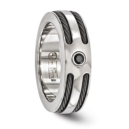 Gray Titanium 7mm Ring with Black Spinel and Black Cable