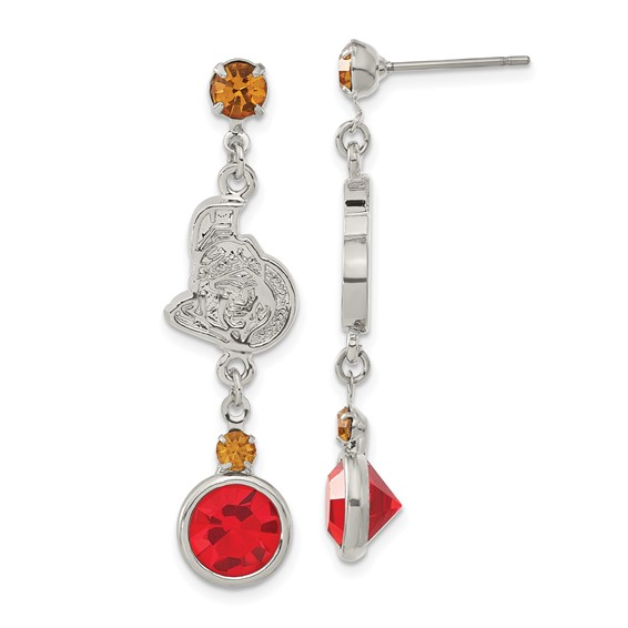 Ottawa Senators Crystal Logo Earrings