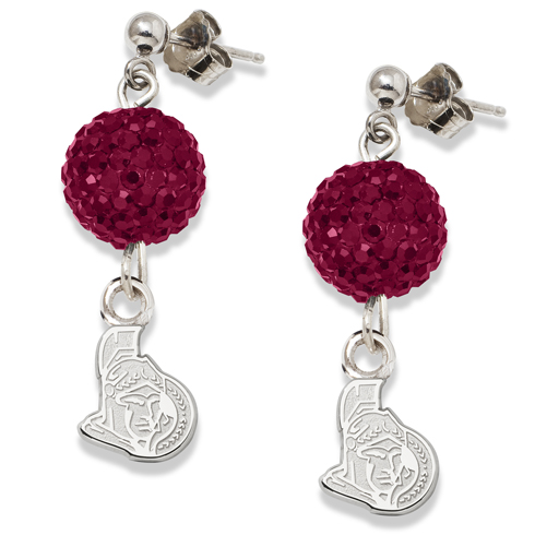 Sterling Silver Ottawa Senators Crystal Ovation Earrings
