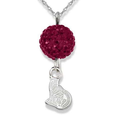 Sterling Silver Ottawa Senators Crystal Ovation Necklace