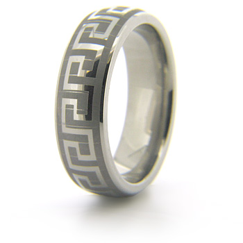Titanium 8mm Greek Key Wedding Band with Domed Center