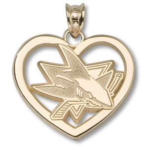 10kt Yellow Gold 7/8in San Jose Sharks Logo Heart Pendant