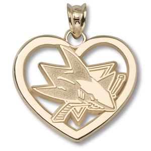 14kt Yellow Gold 7/8in San Jose Sharks Logo Heart Pendant
