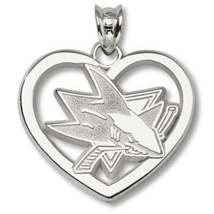 Sterling Silver 7/8in San Jose Sharks Logo Heart Pendant