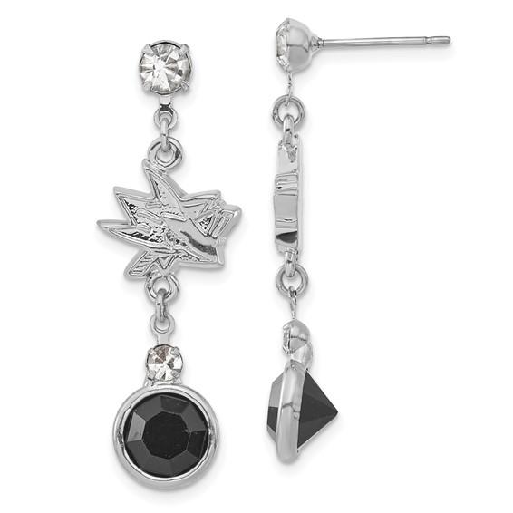 San Jose Sharks Crystal Logo Earrings