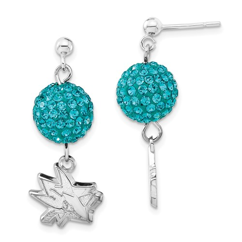 Sterling Silver San Jose Sharks Crystal Ovation Earrings