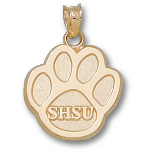 10kt Yellow Gold 5/8in Sam Houston State Paw Pendant