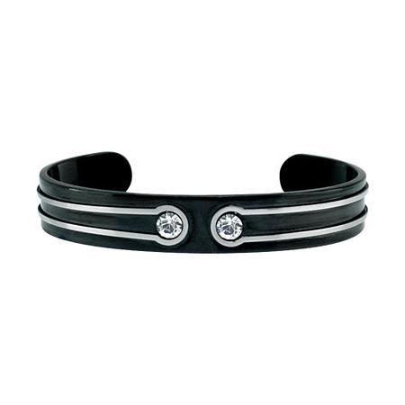 IP Black Steel Cuff Bangle with CZs
