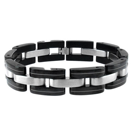 8.5in PVD Black and Stainless Steel Bracelet
