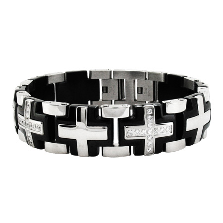 8 3/4in Greek Cross Stainless Steel Bracelet