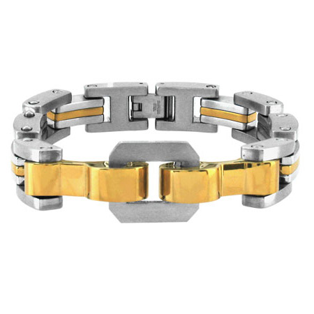 8.5in PVD Gold Stainless Steel Bracelet