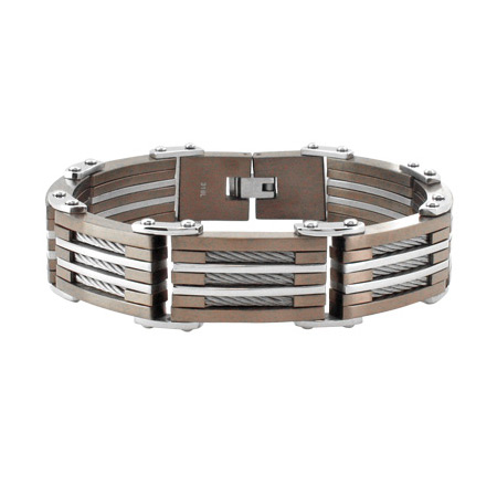9in Cable & PVD Cappuccino Stainless Steel Bracelet