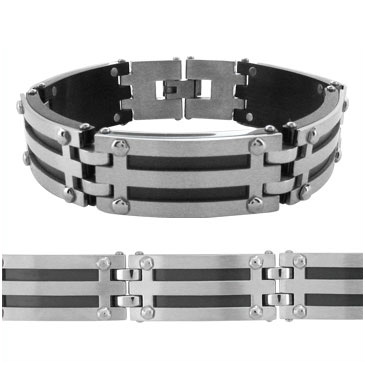 8.25in Manhattan Rubber and Steel Bracelet