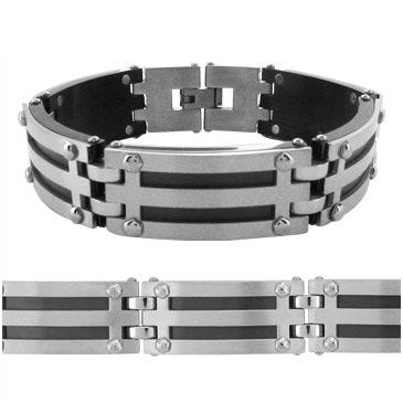 8.25in Manhattan Rubber and Steel Bracelet