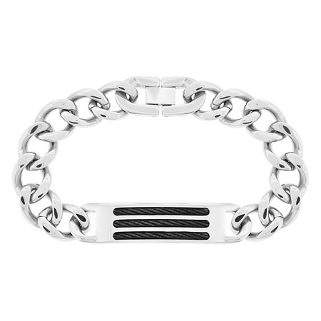 8.25in Black Cable Steel Bracelet
