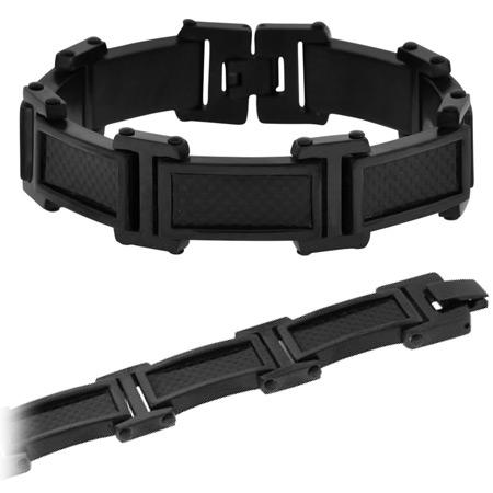 Midnight Carbon Fiber and Steel Bracelet