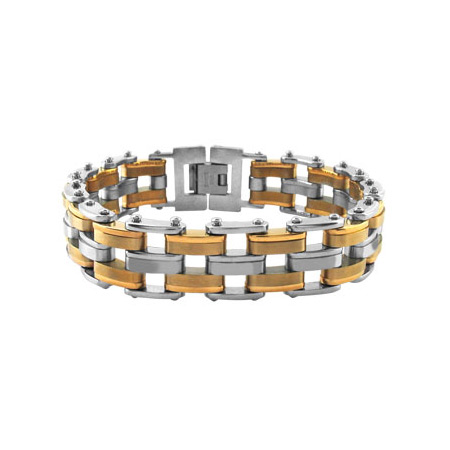 8.5in Greek Link IP Gold Stainless Steel Bracelet