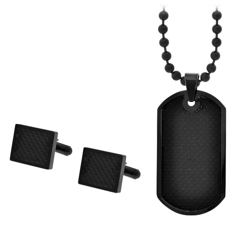 Carbon Fiber Cufflinks & Dog Tag Gift Set - Stainless Steel