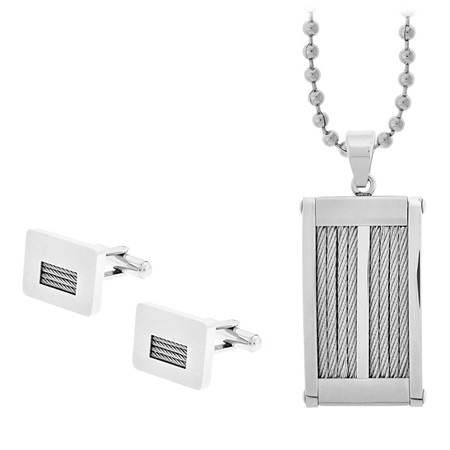 Cable Cufflinks & Dog Tag Gift Set - Stainless Steel