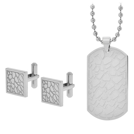 Pebble Cufflinks & Dog Tag Gift Set - Stainless Steel
