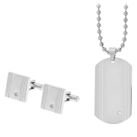 CZ Accent Cufflinks & Dog Tag Gift Set - Stainless Steel