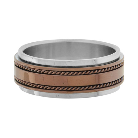 Braided Ring with PVD Cappuccino - Stainless Steel