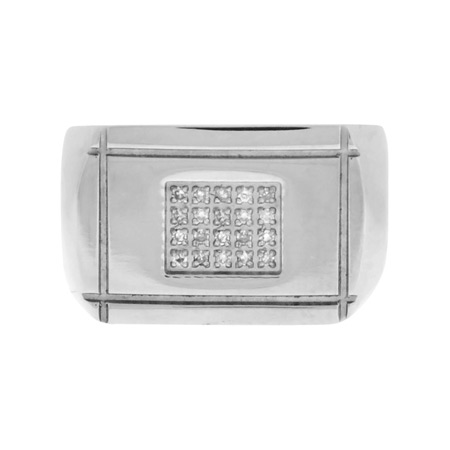 CZ Flat Signet Stainless Steel Ring