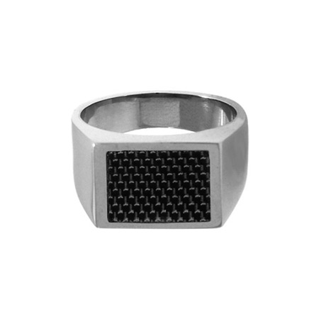 Signet Carbon Fiber and Stainless Steel Ring