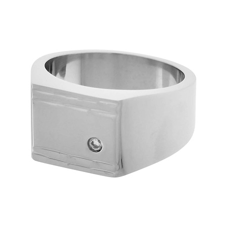 Classic Gem CZ Signet Ring - Stainless Steel